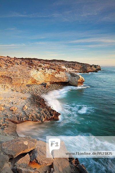 Südliches Afrika Südafrika Fotografie Himmel Landschaft Steilküste Sonnenaufgang unterhalb Meer weiß Western Cape Westkap