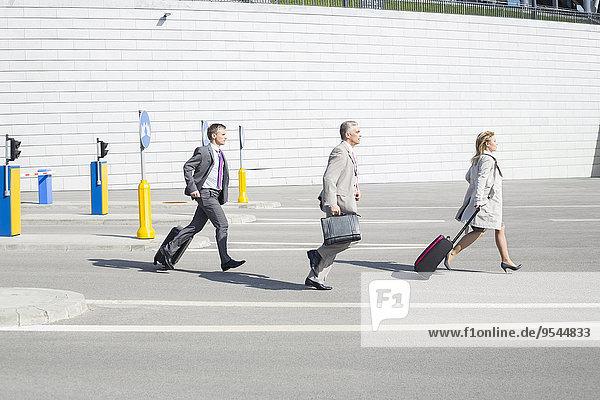 Wirtschaftsperson gehen Straße Gepäck Ansicht Seitenansicht