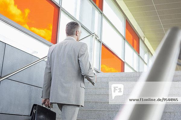 Stufe hoch oben Geschäftsmann gehen reifer Erwachsene reife Erwachsene Mittelpunkt Rückansicht Ansicht Zug Haltestelle Haltepunkt Station