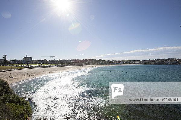Scenic view of Bondi beach against sky  Sydney  Australia