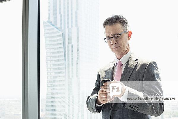 Handy benutzen Geschäftsmann Fenster reifer Erwachsene reife Erwachsene
