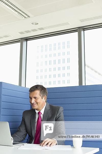 benutzen Schreibtisch Notebook Geschäftsmann lächeln reifer Erwachsene reife Erwachsene