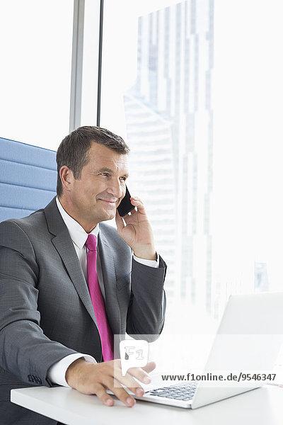 Handy benutzen sprechen Notebook Geschäftsmann reifer Erwachsene reife Erwachsene Büro