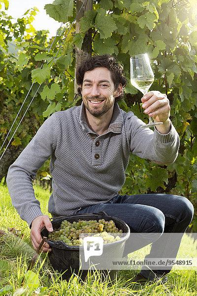 Deutschland  Bayern  Volkach  glücklicher Winzer im Weinberg mit einem Glas Weißwein