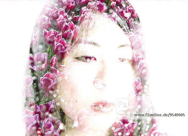 Face of Asian woman and pink tulips  double exposure