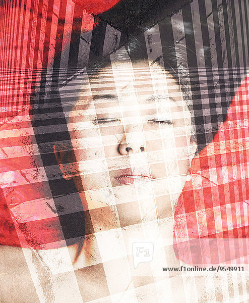 Face of Asian woman with closed eyes and zebra crossings  double exposure