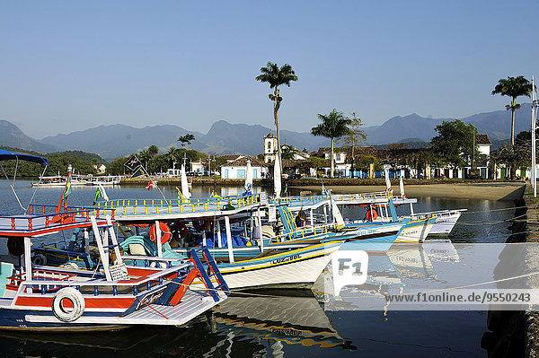 Brazil  Rio de Janeiro State  Paraty  fishing boats for tourists in harbor