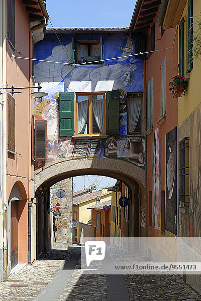 Italy  Emilia-Romagna  Province of Bologna  Dozza  Old town  wall paintings from the Biennale del Muro Dipinto