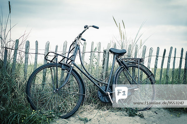 Niederlande  Noordwijk  Fahrrad am Strand