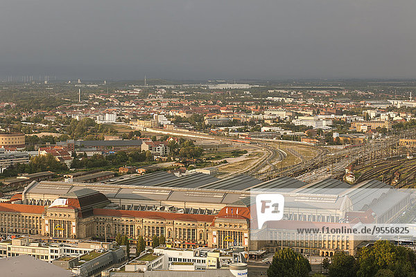 Germany  Saxony  Leipzig  view from above to central station
