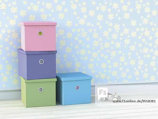 Vier Kartons und Holzspielzeugauto im Kinderzimmer
