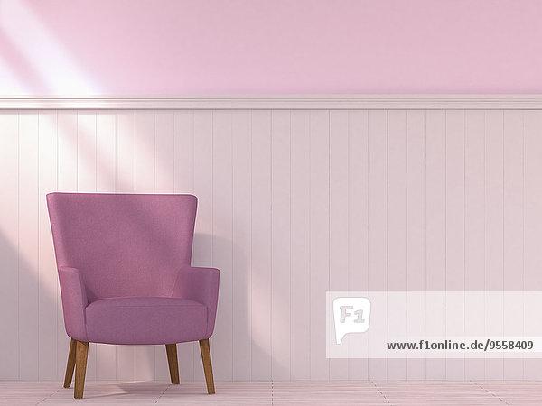 Sessel stehend vor Holzwandverkleidung  3D-Rendering