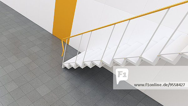 3D-Rendering der Treppe im Gebäude 3D-Rendering der Treppe im Gebäude