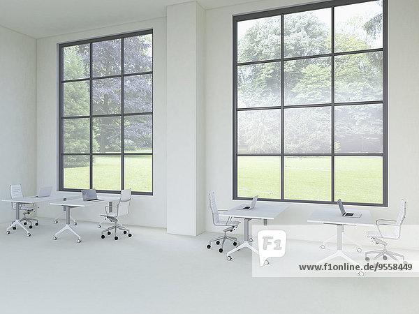 3D-Rendering eines modernen Büros mit Fenstern