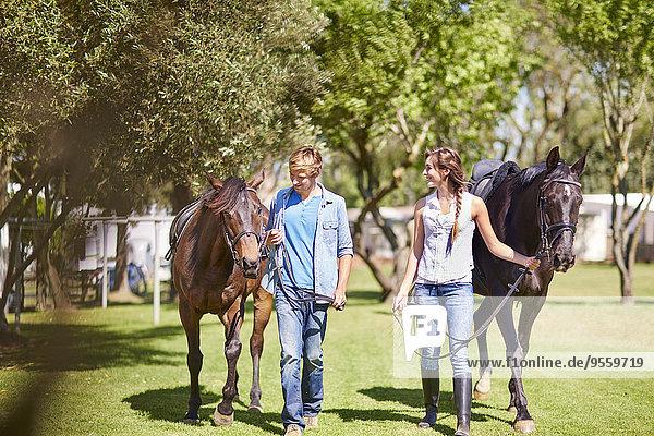 Junges Paar,  das mit Pferden auf der Wiese spazieren geht