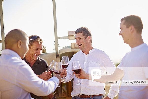 Südafrika  Winzer verkosten Wein im Weinberg