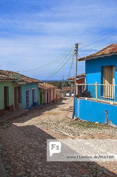 Colorful buildings  street scene  Trinidad  Cuba  West Indies  Caribbean