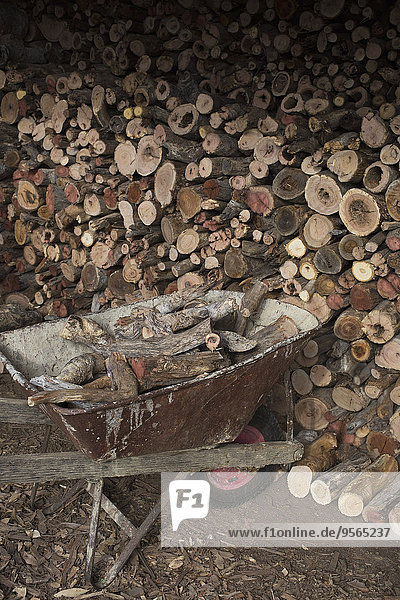 Brennholzstapel mit Schubkarre