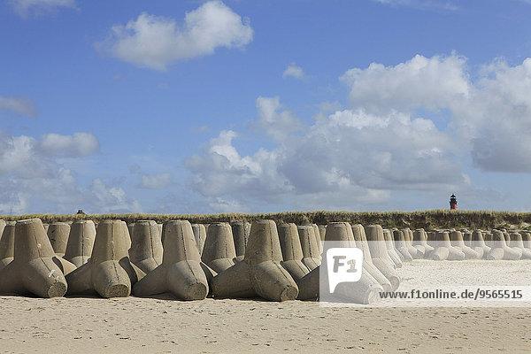 Tetrapodenfelsen am Sandstrand gegen den Himmel angeordnet