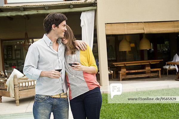 Couple celebrating at resort