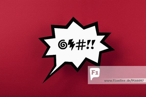 Fluch Sprechblase vor rotem Hintergrund