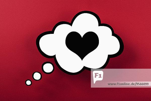 Herz-Gedankenblase vor rotem Hintergrund