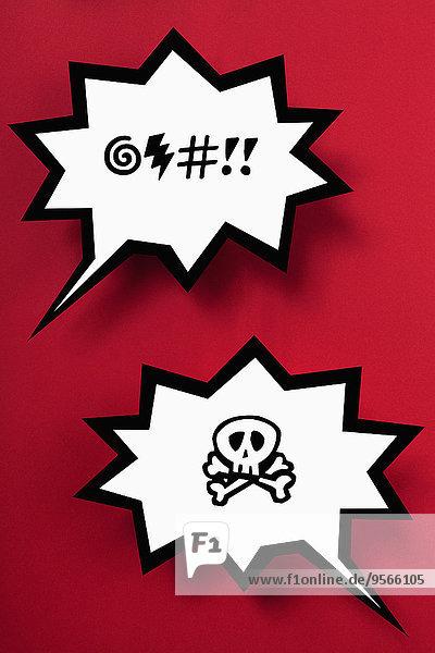 Fluch und Gefahr Sprechblasen vor rotem Hintergrund