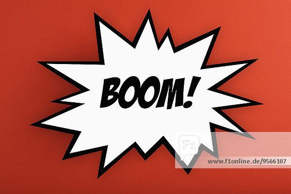 Explodierender Boom! Gedankenblase vor orangem Hintergrund