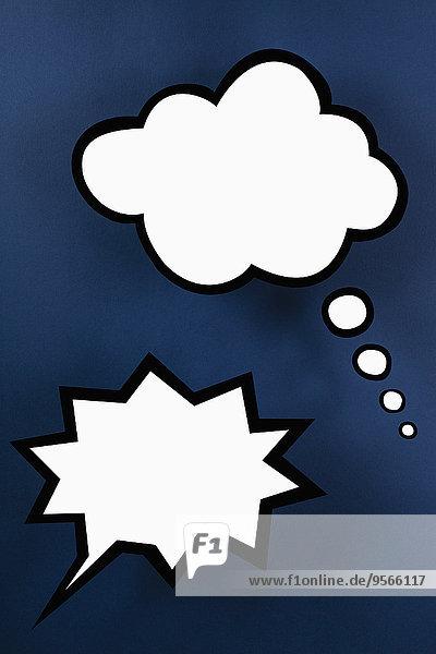 Eine leere Sprechblase und leere Gedankenblase
