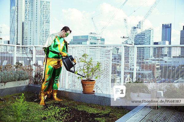 Superheld Bewässerung Topfpflanze auf dem Stadtdach