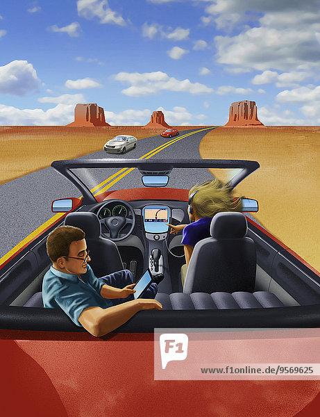 Passagiere relaxen in fahrerlosem Auto