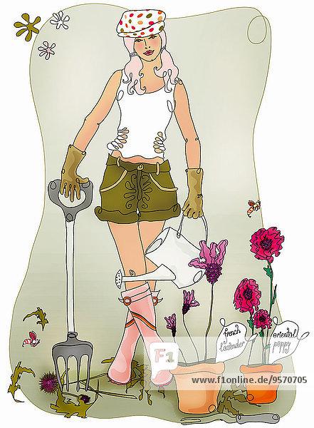 Junge Frau gärtnert