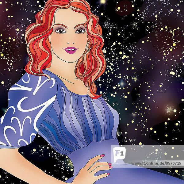 Schöne Frau bei Nacht als Widder-Sternzeichen
