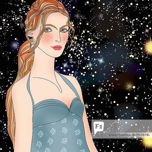 Schöne Frau bei Nacht als Jungfrau-Sternzeichen
