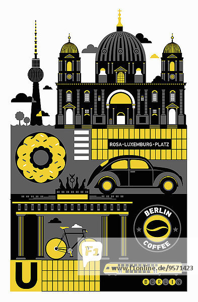 Collage von berühmten Sehenswürdigkeiten in Berlin Collage von berühmten Sehenswürdigkeiten in Berlin