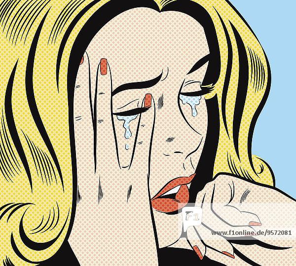 Verzweifelte Frau weint