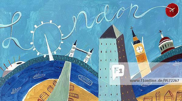 Collage Londoner Sehenswürdigkeiten Collage Londoner Sehenswürdigkeiten