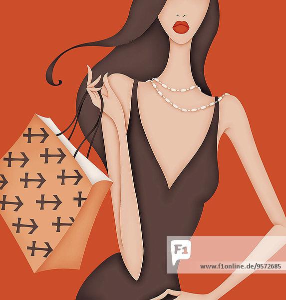 Glamouröse Frau trägt Handtasche mit Schütze-Symbol