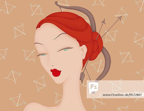 Schöne Frau mit Pfeil und Bogen als Schütze-Sternzeichen