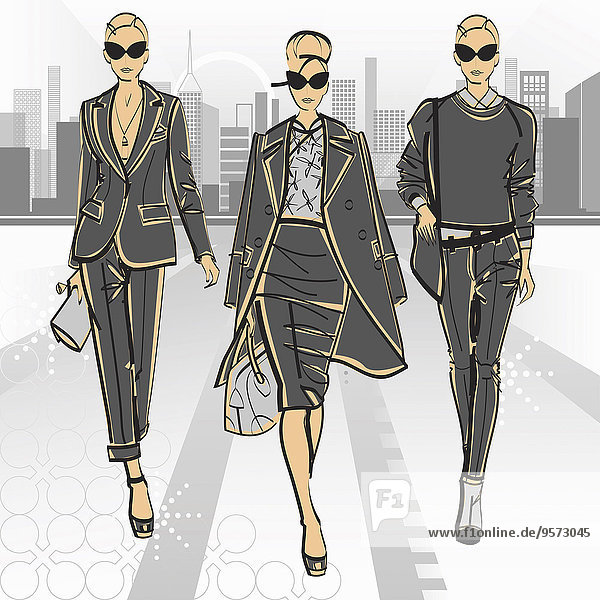 Drei Models tragen elegante Geschäftskleidung