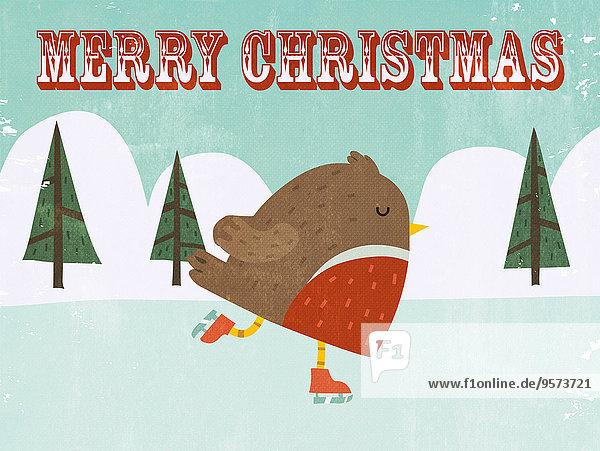 Weihnachtliches Rotkehlchen läuft Schlittschuh