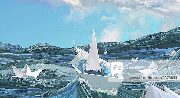 Papierboote versinken in stürmischer See