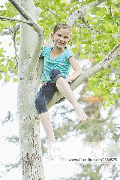 Smiling Caucasian girl climbing tree outdoors