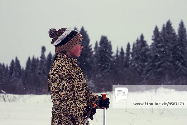 Europäer Junge - Person Landschaft Schnee Skisport querfeldein Cross Country