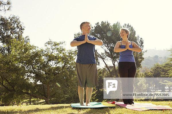 Ein reifes Paar  das Yoga im Park praktiziert.