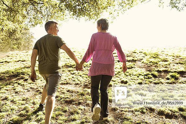 Rückansicht des reifen Paares Power Walking im Park
