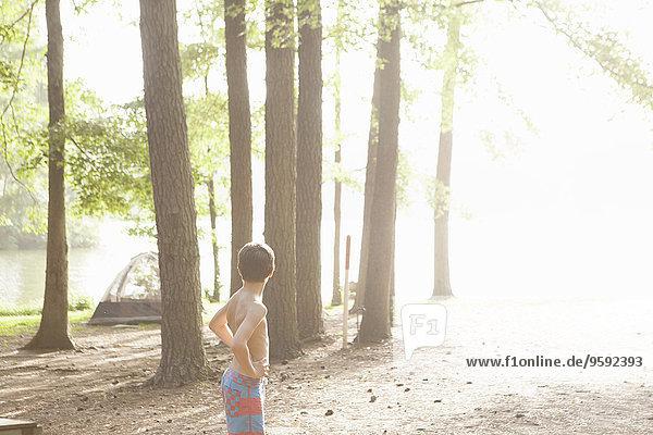 Jugendlicher Junge im sonnigen Wald  Arkansas  USA
