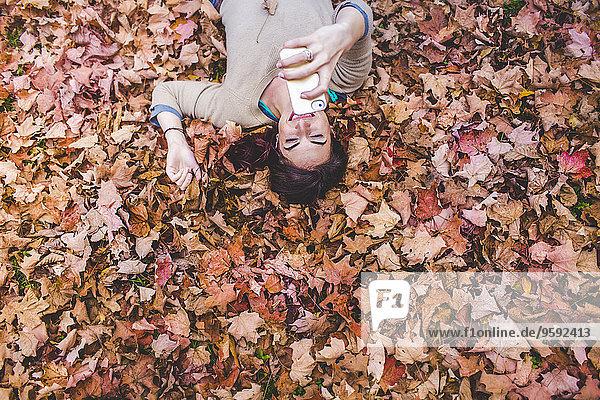 Overhead-Ansicht einer jungen Frau  die auf Herbstblättern liegt und Selfie auf dem Smartphone nimmt. Overhead-Ansicht einer jungen Frau, die auf Herbstblättern liegt und Selfie auf dem Smartphone nimmt.
