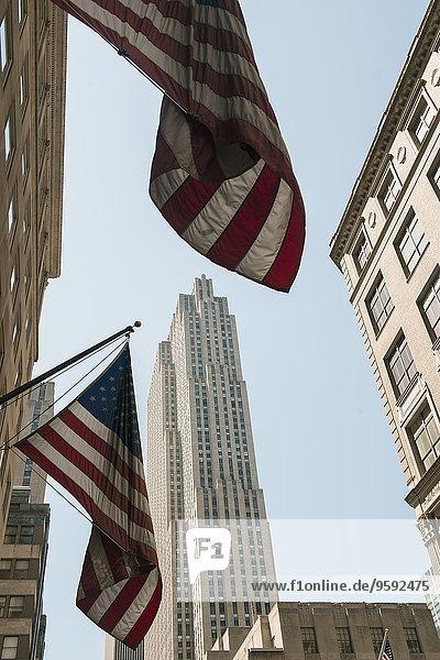 US-Flaggen auf Gebäuden  Manhattan  New York  USA
