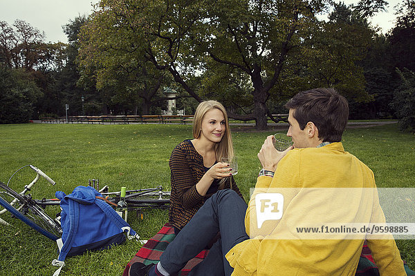 Young couple drinking wine on picnic blanket in park
